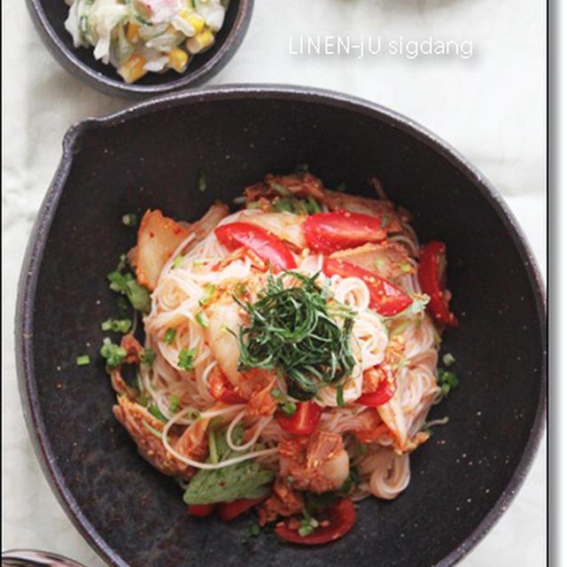 冷製パスタ風 キムトマツナ素麺☆レシピモニター参加中