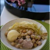塩豚とキャベツ、ひよこまめのポテ