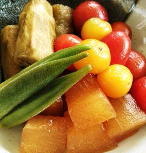 夏野菜のおひたし&残りのスープで茄子のにゅうめん♪