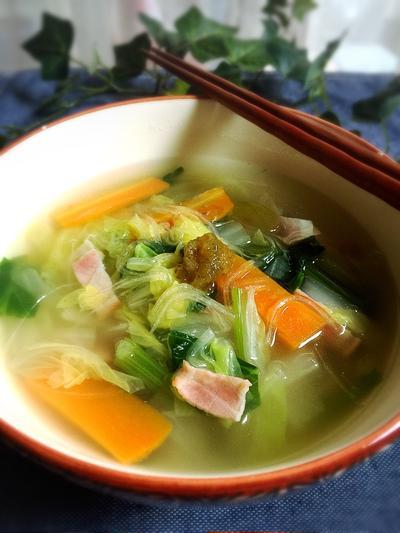 白菜消費!柚子胡椒の春雨スープ