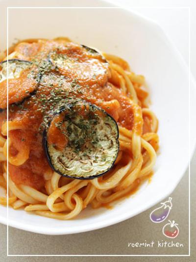 トマトとなすの生パスタ