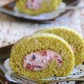 ホットケーキミックスで♪マスカルポーネと小豆の 抹茶ロールケーキ ☆