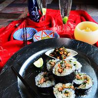 澪と楽しむ 秋鮭と小松菜のジンジャーソテー入りキンパ (キムパプ) #韓国料理