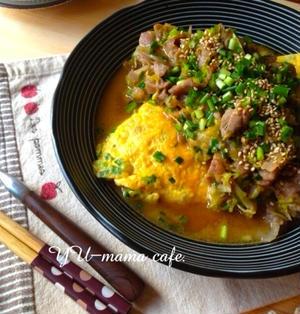 ネギ味噌豚キャベツの和風オムレツ 節約、ボリューム玉子料理。次男の誕生日。