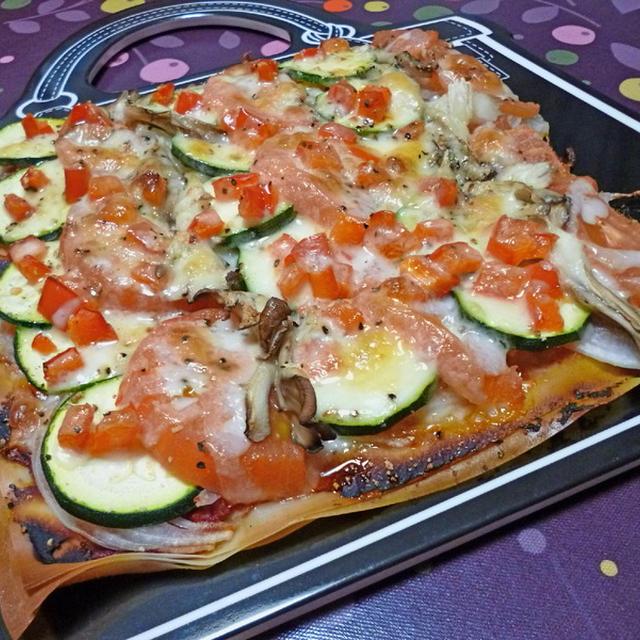 春巻きの皮で夏野菜のピザ