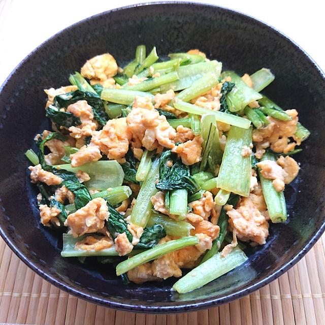 小松菜と卵の醤油マヨネーズ炒め