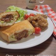 【簡単カフェ飯】お弁当に!食パンポケットでハンバーグパン♪とハニーマスタードチキン♪