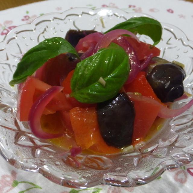 トマトとナスのマリネ&塩パン