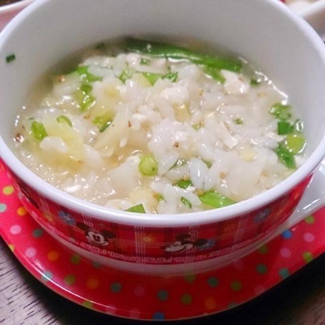 胃にやさしい長芋と豆腐の雑炊。 と、ノリノリ♪ #ピエトロ #ドレッシング #昼ご飯