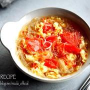 ♡トマトと卵のサンラータン風春雨スープ♡【#簡単#時短#節約】