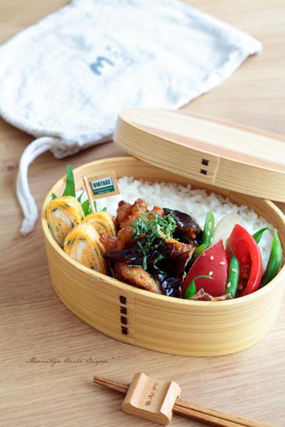 茄子と鶏むね肉の揚げ浸し弁当~パパのお弁当~