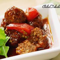 黒酢トマトのカリカリ♪ナッツハンバーグ