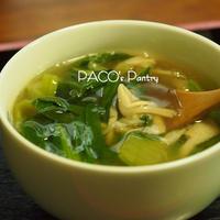 追いがつおつゆで、キノコと青梗菜のあんかけスープ