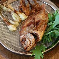 連子鯛と島らっきょうの土佐揚げ、天ぷら