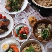 「なめ茸とツナの炊き込みごはん」「焼き豚」「鮭と野菜のソテー」などなどな和な夕食