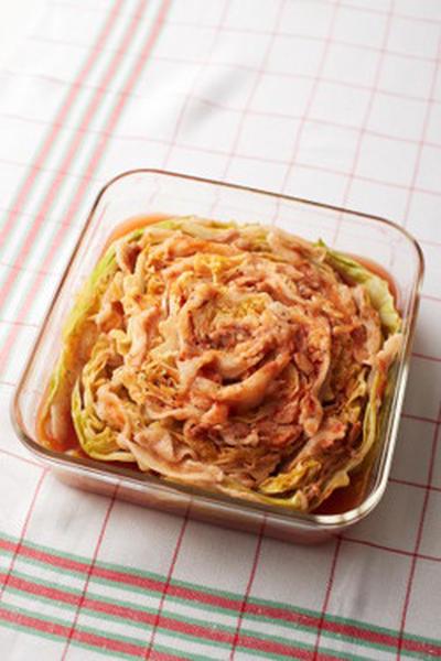 重ねてチンするだけの簡単ミルフィーユ風〜 豚キャベツトマト煮