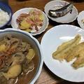 肉じゃがとキスの天ぷら。肉じゃが弁当