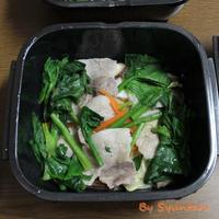 グルラボプラスで簡単レンチン調理『1/2日分の野菜が摂れる豚バラの酒蒸し』