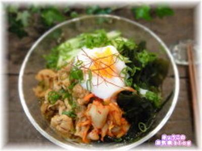 カフェ風☆麺つゆで冷麺風そうめん(レシピ)