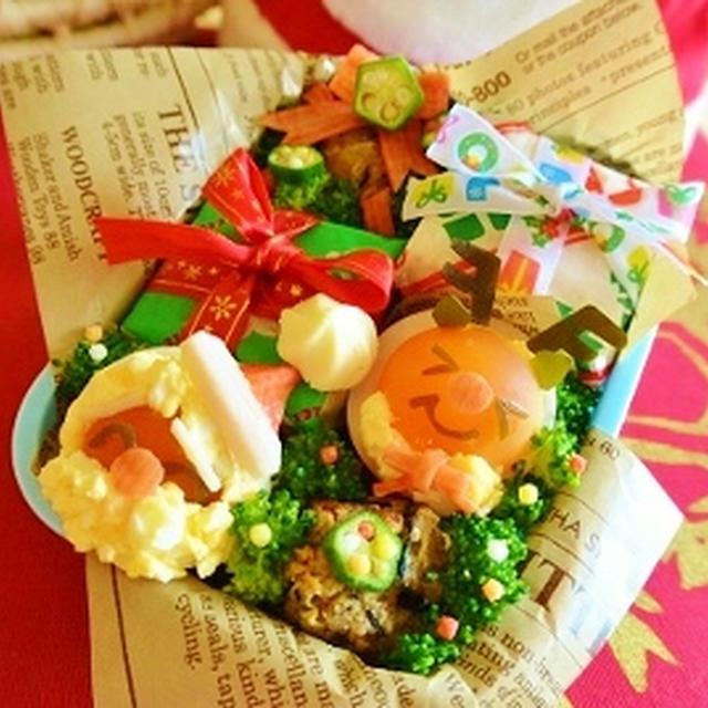 クリスマスリースのお好み焼きアート&サンタゆで卵動画レシピ♪