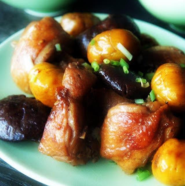 栗子燒香菇雞│鶏肉とクリと二種類のシイタケ煮込み