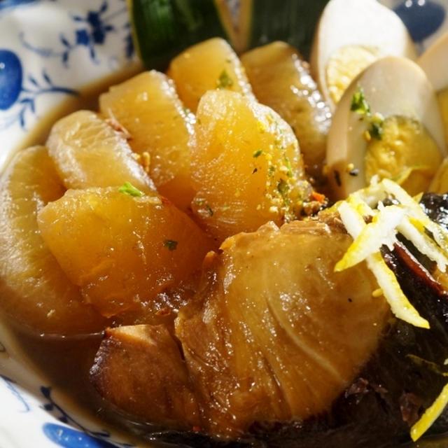 ■和食の晩御飯セット【煮卵付きのブリ大根/ほうれん草のクルミ胡麻和え/赤大根の甘酢漬け/味噌汁】