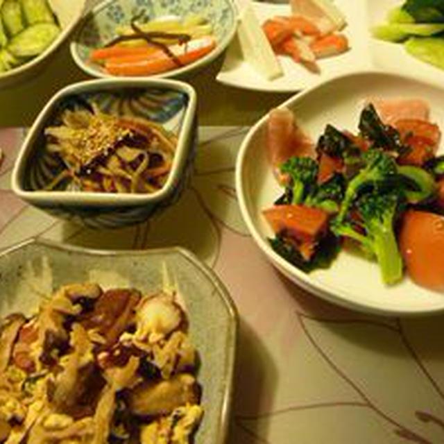 夕飯(タコ炒めもの;塩麹)