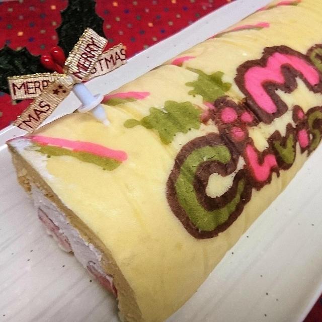 【レシピ】HM★ふんわり~★可愛い★子供喜ぶ【クリスマス★デコロールケーキ】