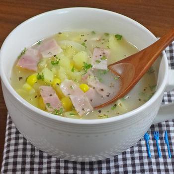 【あったか おかずスープ】ベーコンととろ~りポテトのポタージュ