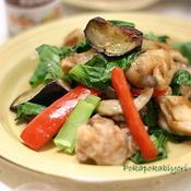 小松菜・茄子・しめじ赤パプリカ・鶏肉の炒めもの(味付塩コショー燻製風味)