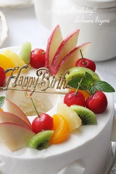 母のお誕生日ケーキ☆シフォンデコとプリンアラモード