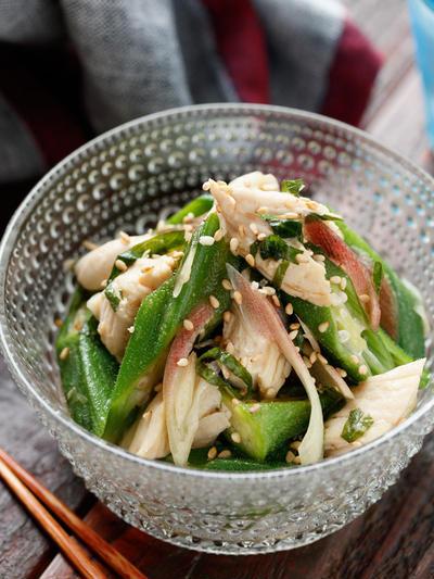 オクラとささ身の香味ポン酢サラダ【#作り置き #ヘルシー #おつまみ #レンジ #副菜】と『レシピ本でよく頂く質問について』