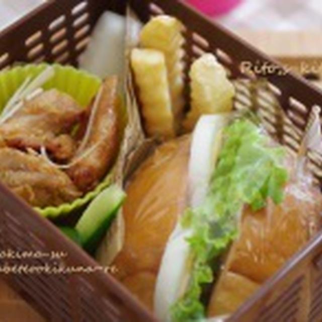 【お弁当】~ハム玉子サンドと鶏みそのお弁当~