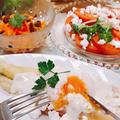 チーズと温泉卵トロけるホワイトアスパラのおもてなし前菜