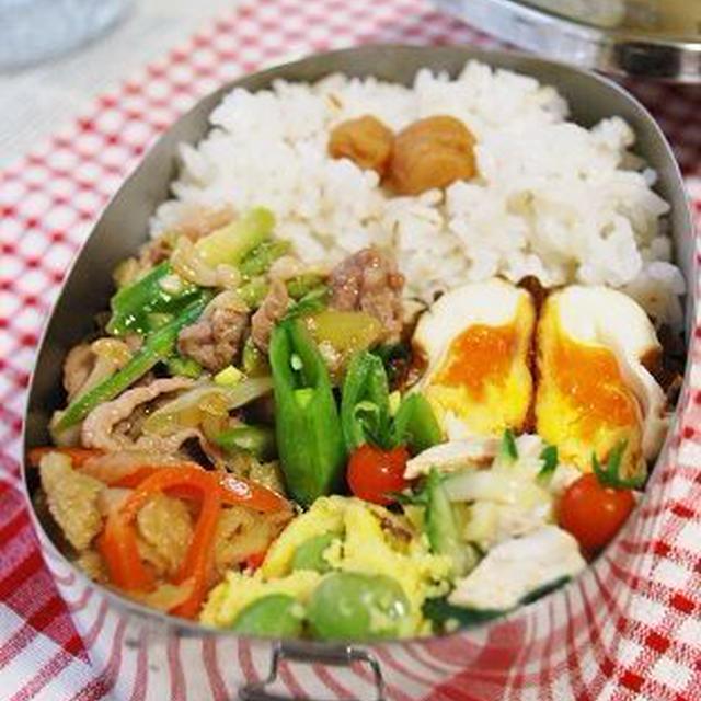 豚肉とアスパラの塩麹炒め弁当