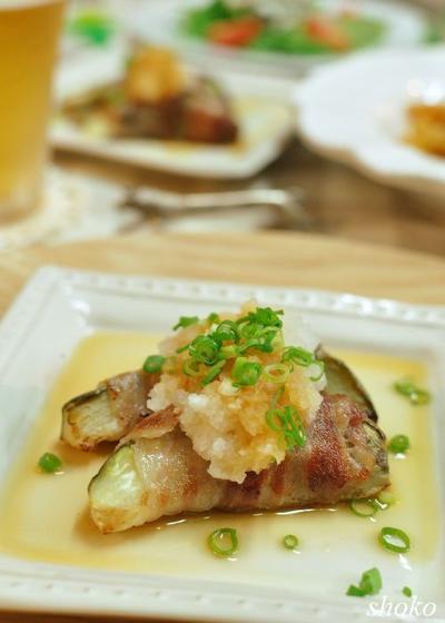 白ナスの豚巻きおろしポン酢とゴーヤのサラダ