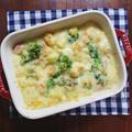 小麦粉不要!じゃがいものホワイトソースで作った 海老と菜の花のなめらかグラタン