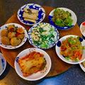 韓国風おかず(パンチャン)と和風おかずの小皿料理。うずら卵の麻薬たまご。