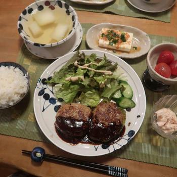 ハンバーグ&でかピーマンの肉詰めの晩ご飯 と 花壇の花♪