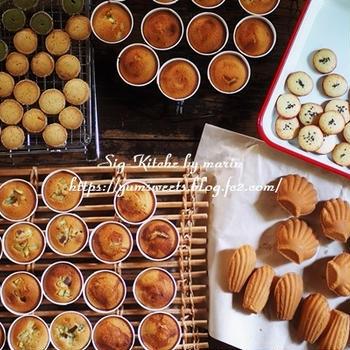 焼き菓子とクッキー、チョコチップ入りのパヴェ、いつもの山食パン【レシピ】