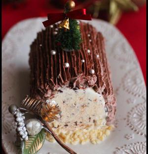 クリスマスに♪すぐに出来る!ブッシュドノエル風アイスケーキ