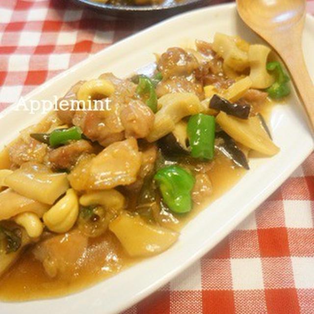 醤油麹で鶏肉と蓮根のカシューナッツ炒め