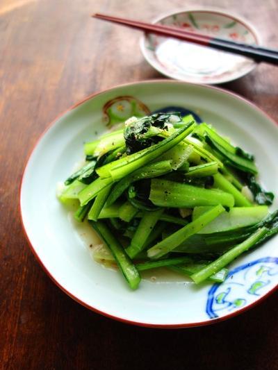 小松菜の塩にんにく炒め