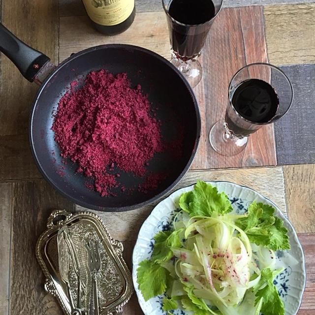 赤ワインとハーブ塩で、自家製ワインハーブ塩  #クリスマス #余ったワイン #金魚の肴  #家バル