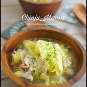 簡単【食べるボリュームスープ♡】たっぷりキャベツの塩バタ豚汁