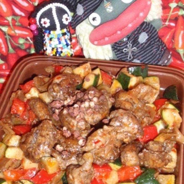 鶏肉の搾菜花椒ソース炒め&米茄子の中華風黒酢サラダ(お家カフェ)