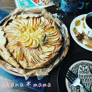 今日は13夜♪そして芋の日♪とノンバターで型なし簡単♪♪りんごとキウイの紅茶タルト♪