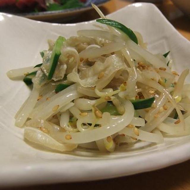 ミミガーともやしの中華風と揚げ蓮根の甘辛