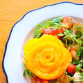 【料理動画】いちごとモッツァレラチーズのフルーツサラダとオレンジのバラ(フルーツカッティング)作り方レシピ by 和田 良美さん
