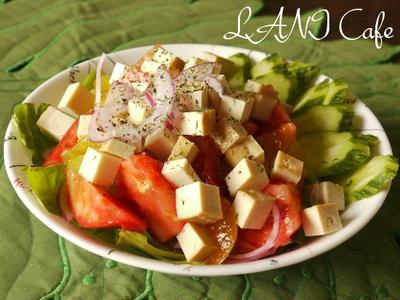 黒さんごキュウリとスモーク豆腐のサラダ